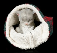 Katzen Figur schlafend in Decke eingewickelt