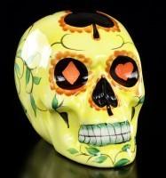 Mexikanischer Totenkopf - Keramik gelb