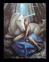 Kleine Leinwand mit Einhorn - Blue Moon