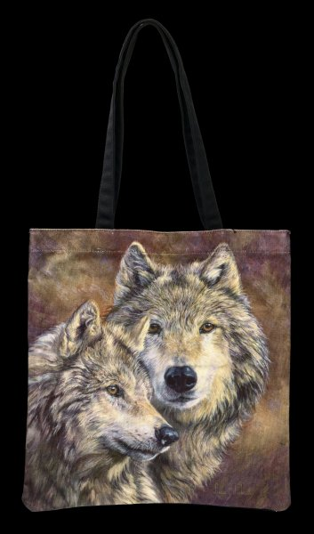 Long Handle Tote Bag with Wolves - The Bond