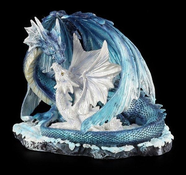 Drachen Figur - Mutter mit Jungem weiß-blau