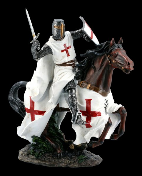 Tempelritter Figur auf Pferd im Galopp