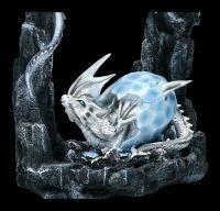 Large Dragon Figurine - Snow Dragon with Baby