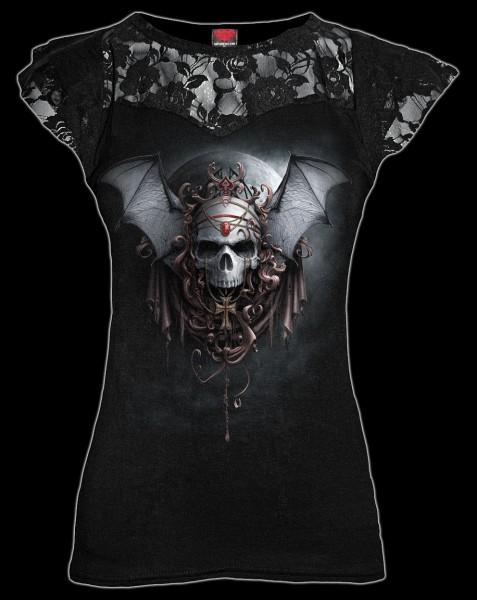 Damen Netz Shirt - Totenkopf - Goth Nights