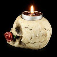 Teelichthalter - Totenkopf mit Rose