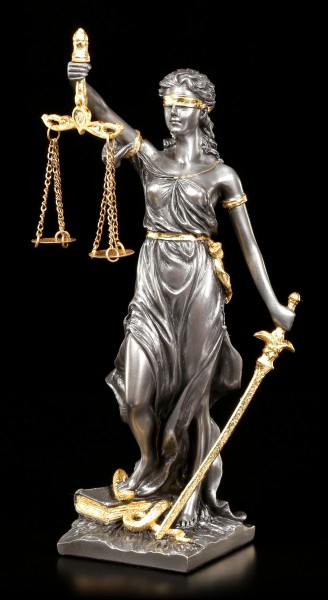 Small Justitia Figurine - Goddess of Justice - silver gold