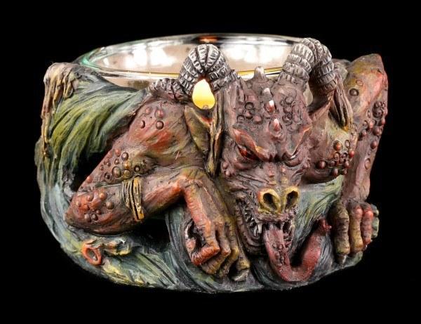 Teelichthalter - Gehörnter Dämon