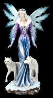 Large Fairy Figurine - Lisriel with white Wolves