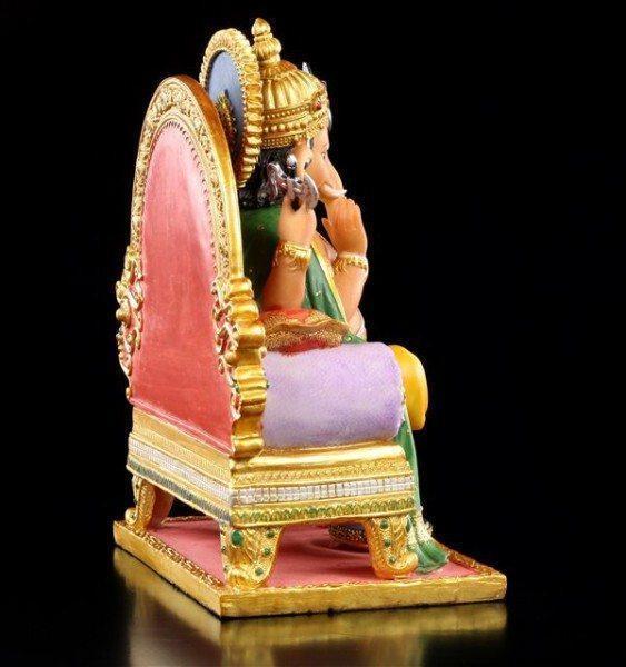 Ganesha Figur auf Thron bunt