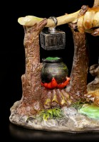 Troll Figurine - Witch with Wand and Magic Cauldron