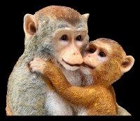 Garden Figurine - Monkey Baby hugging Mom