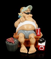 Funny Life Figurine - Camper with Barbeque and Beer