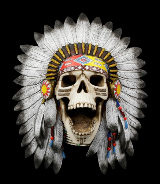 Wall Plaque Indian Skull - Tribal Cry