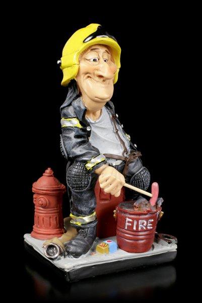 Funny Job Figur - Feuerwehrmann grillt Würstchen