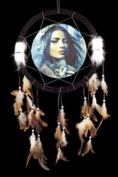 Traumfänger mit Indianerin - Mutter der Wölfe