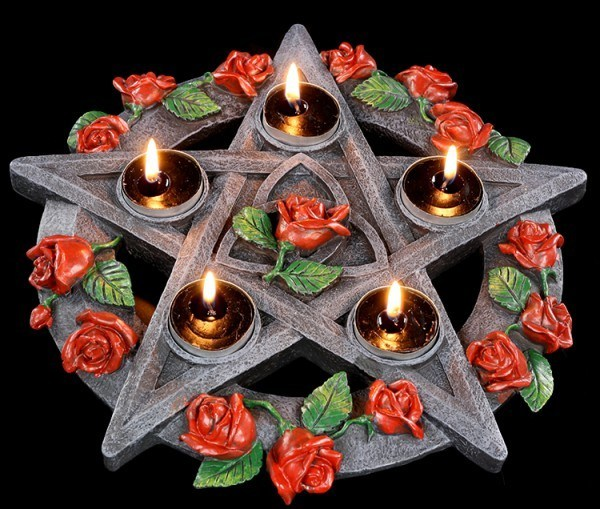 Tealight Holder - Pentagram and Roses