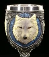 Fantasy Kelch - Einsamer Wolf mit roten Schmucksteinen