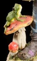 Große Pixie Figur mit Frosch auf Pilz