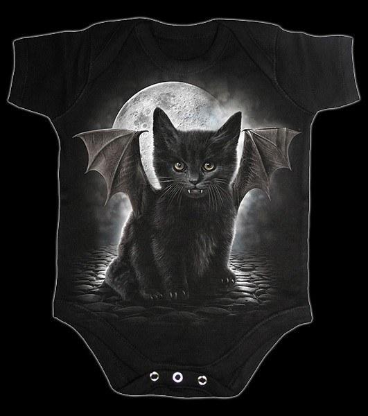 Babystrampler mit Fledermaus-Katze - Bat Cat