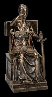 Sitting Justice Figurine on Throne - bronzed