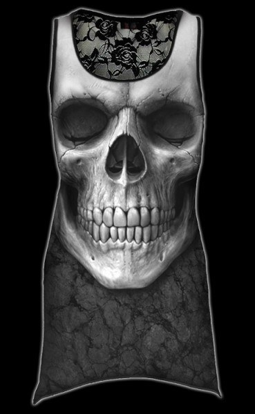Netz Langshirt Damen - Totenkopf Solemn Skull
