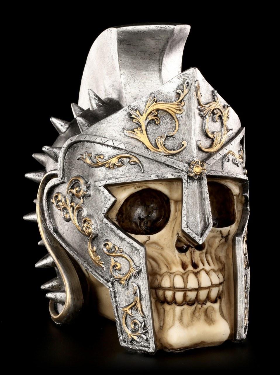 Skull with Roman Gladiator Helmet