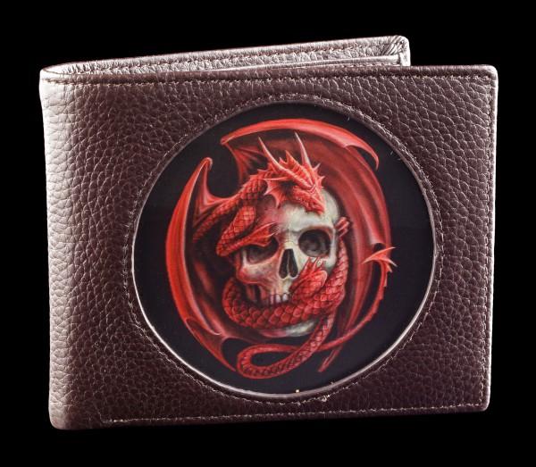 Geldbörse braun mit 3D Drache - Dragon and Skull