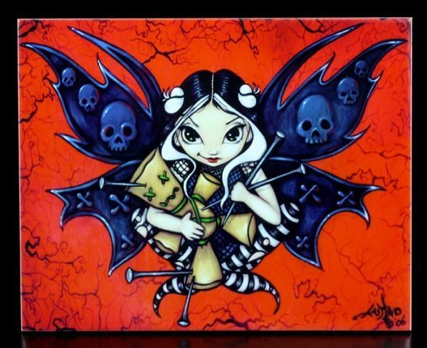 Deko-Fliese groß - Fairy Voodoo