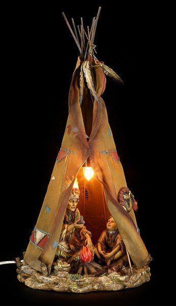 Indianer Lampe - Tipi mit Häuptling und Kind