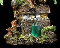 Dragon Figurine - Green with Treasure Chest