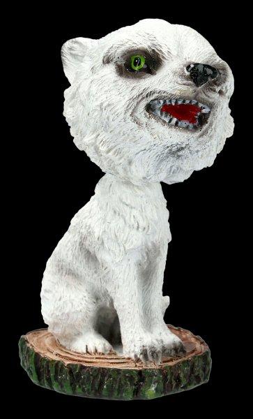 Wackelkopf Figur - Winter Wolf Cub