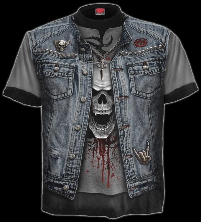 T-Shirt - Totenkopf Kutte - Thrash Metal