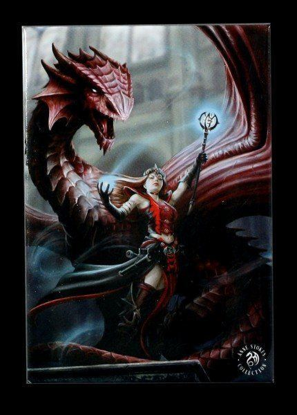 Magnet mit Drache - Scarlet Mage by Anne Stokes