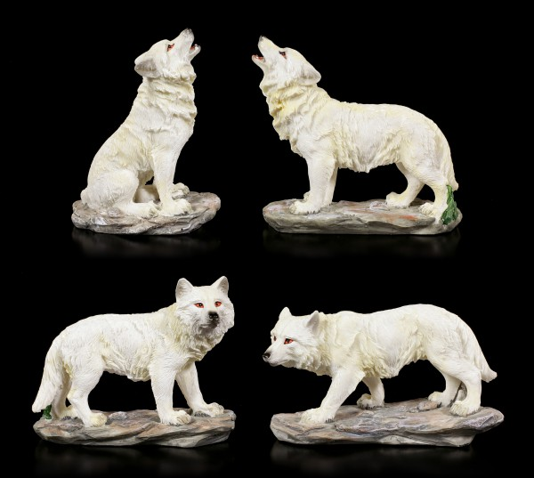 Wolf Figurines Set of 4 - Wild Pack