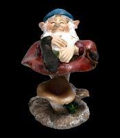Gnome Figurine - Asleep on Mushroom