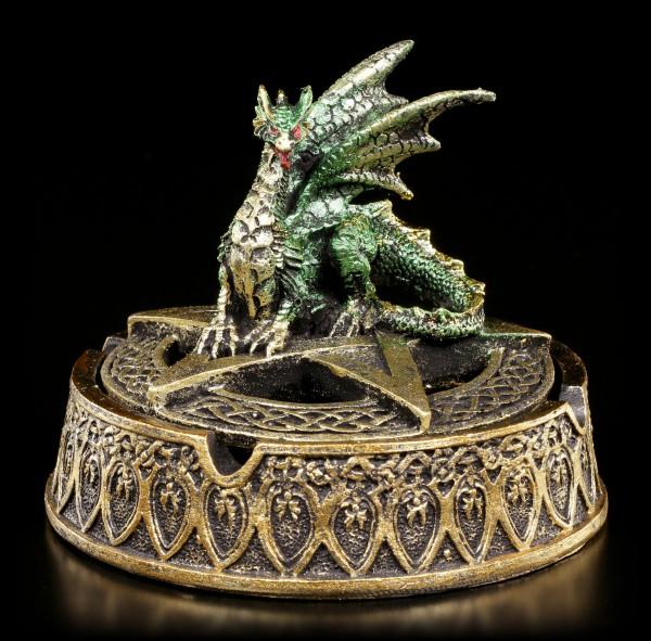 Goldener Aschenbecher mit grünem Drachen