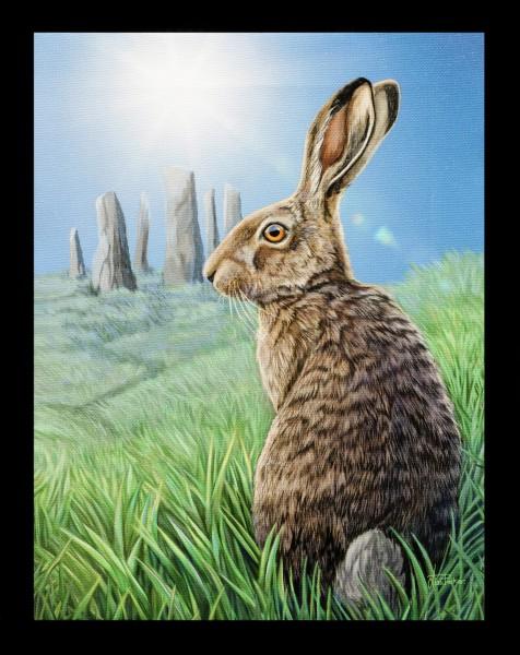 Kleine Leinwand mit Hase - Solstice
