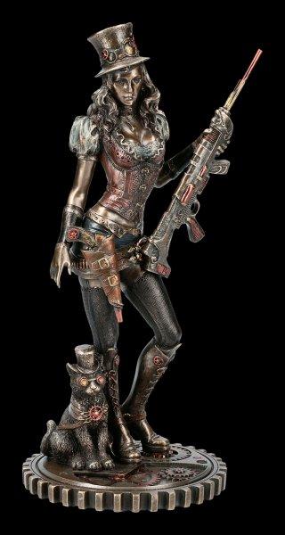 Steampunk Figur - Wild West Kriegerin mit Katze