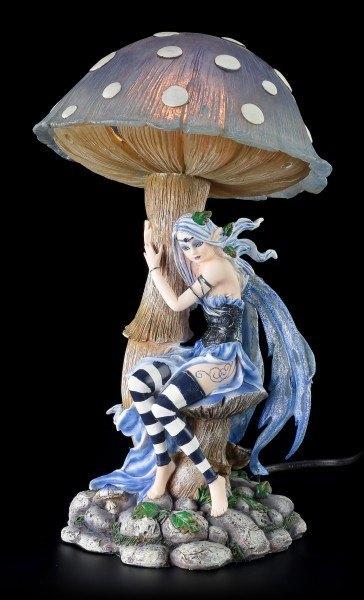 Elfen Nachtlicht mit Pilz - Blau