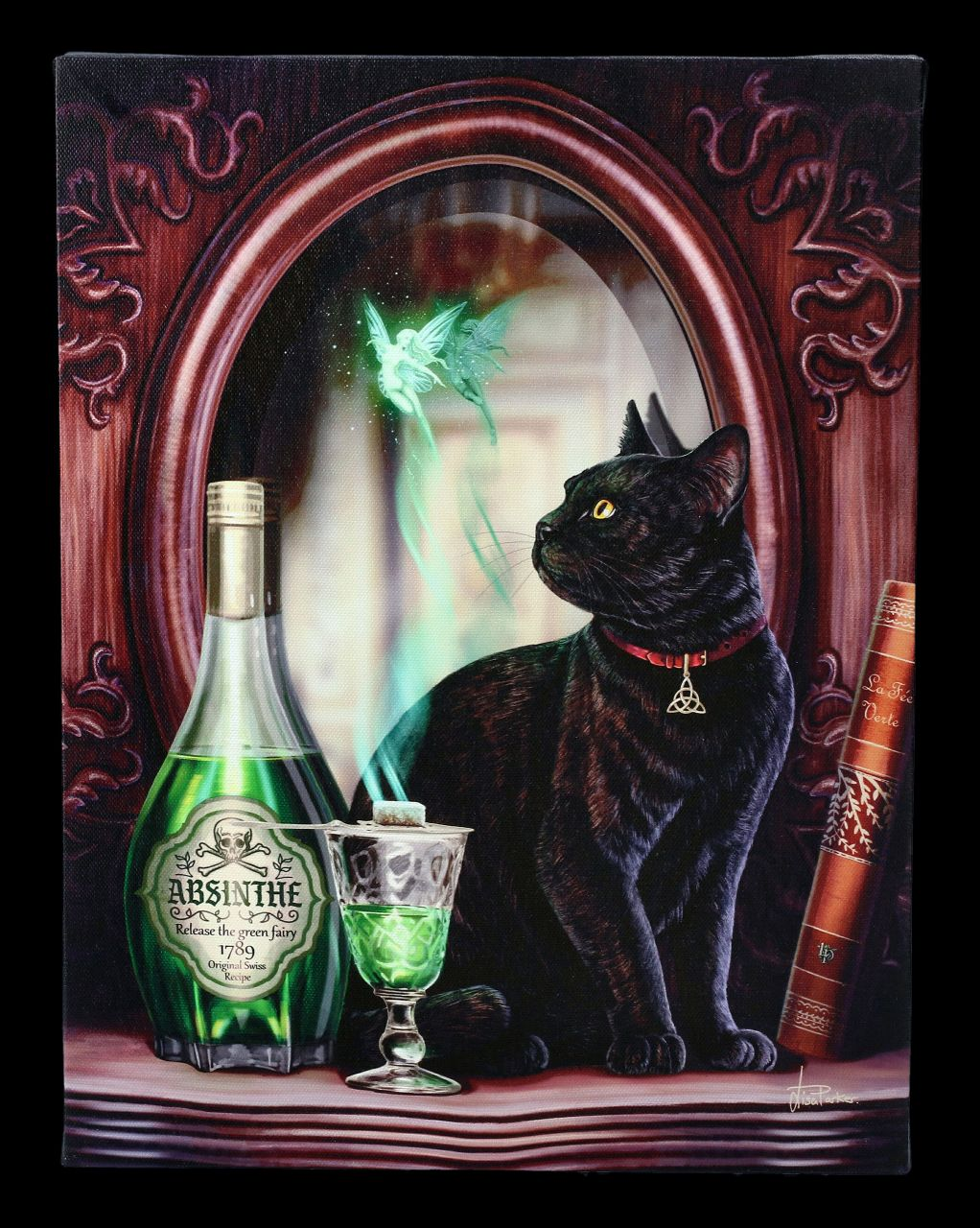 Small Canvas with Cat - Absinthe