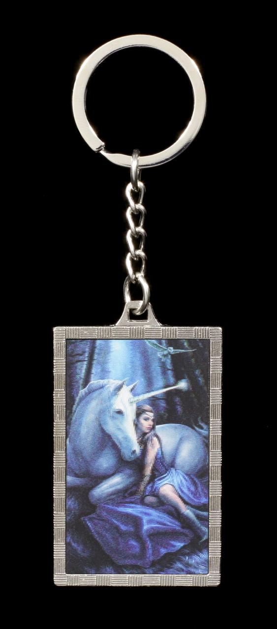 3D Keyring with Unicorn - Blue Moon