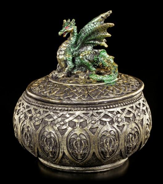 Goldene Schatulle mit grünem Drachen