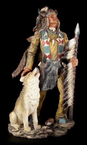 Indianer Figur - Mit Büffelkopf und Wolf