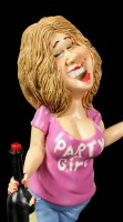 Funny Job Figurine - Party Girl with Wine Bottle