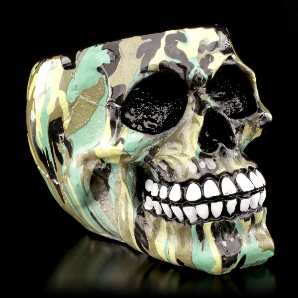 Small Colourful Skull Ashtray - Camouflage
