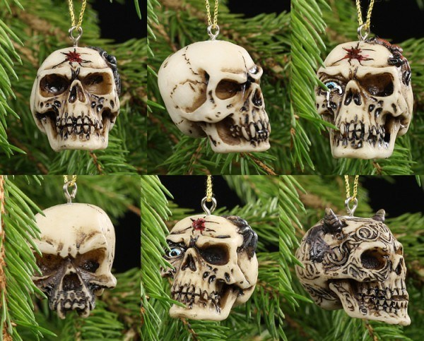 Skull Christmas Tree Decorations - Set of 6