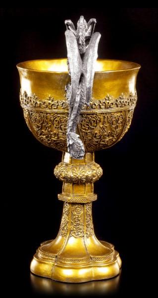 Kelch Heiliger Grahl - König Arthur mit zwei Drachen