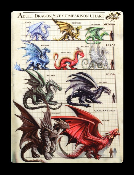 3D Postkarte mit Drachen - Dragon Size Comparison Chart by Anne Stokes