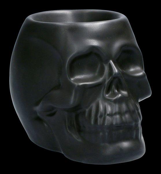 Oil Burner - Black Ceramic Skull