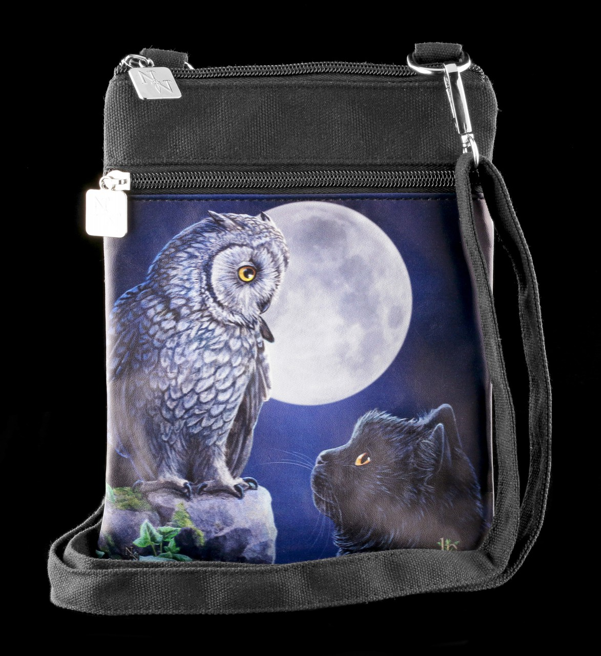 Small Shoulder Bag with Owl & Cat - Purrfect Wisdom